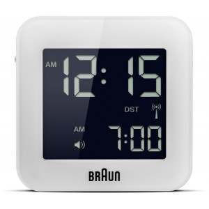 Braun BNC008 White Global Radio Controlled Travel Alarm Clock